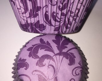 Purple Damask Vintage Style Cupcake Cases
