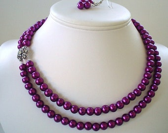 Two Strand Magenta Pearl with Rhinestone Flower Pendant Beaded Necklace and Earring Set    Great Brides or Bridesmaid Gifts