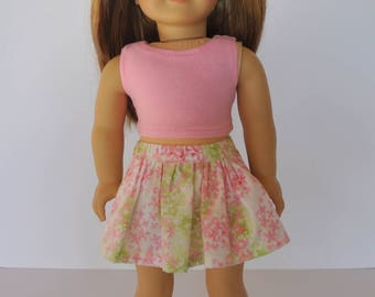 Pink Floral Print Gathered Skirt and Pink Crop Top 18 inch Doll Clothes