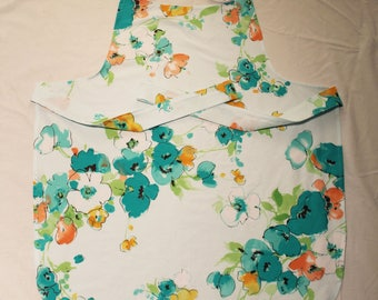 Blue floral full apron with pocket