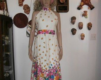 Womens Dress- Haulter Maxi Dress-Bright Floral  Sundress  Womens  Maxi Dress Vintage Dress