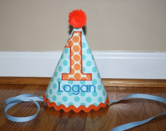 turquoise blue boys first birthday hat, boys 1st birthday hat, blue, orange, cake smash outfit, boys hat, personalized birthday hat