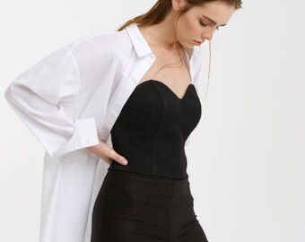 Corset, cotton corset, corset belt, black corset, corset top, black top, waist corset, bustier, bustier corset, bustier top, crop top