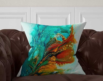 Abstract Pillow Cover, Blue Turquoise Teal Orange, Lumbar Pillow, Decorative Throw Pillows, Toss Pillow, Cushion Cover, Blue Cushions
