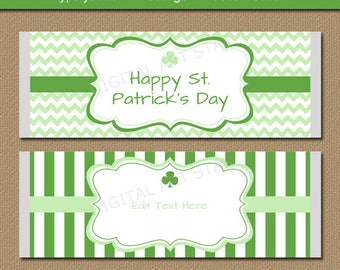 St Patricks Day Party Favors - Printable St Patricks Day Candy Bar Wrappers - EDITABLE St Patricks Day Candy Labels - St Pats Party Supplies