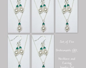 Set of 5 Dark Green Bridesmaid Jewelry Set, Swarovski White Pearl and Emerald Crystal Necklace and Earring Set, Bridesmaid Jewelry Set of 5