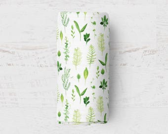 Baby Boy Swaddle Blanket Organic Muslin Swaddle Wrap Blanket Baby Swaddle Foliage Nursing Cover Watercolor Baby Wrap Green Baby Foliage