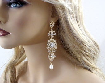 "Chandelier Crystal Bridal Gold Earrings, Chandelier long Bridal Earrings,4"" Long Crystal statement earrings, Bridal Wedding jewelry"