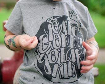 You're gonna go far kid - infant / toddler tshirt , rock baby , band shirt , kids custom gifts , childrens shirts , song lyrics