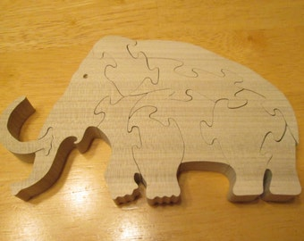 Montessori educational, Woolly Mammoth Puzzle, wood puzzle, kids puzzle