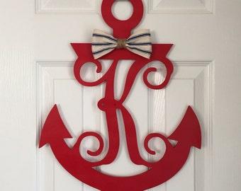 Monogram Anchor Door Hanger - Nautical Door Hanger - Anchor Initial Wreath - Boat Themed Monogram - Anchor Monogram - Spring Door Decor
