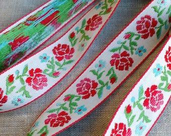LOT OF 5 YARDS Floral Vintage Jacquard Woven Trim, Flower Trim, Pretty Ribbon, Flower Ribbon, Vintage Sewing, Haberdashery, Rose Ribbon