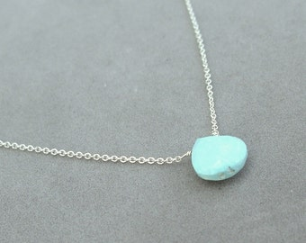 sleeping beauty turquoise necklace on solid 14k white gold