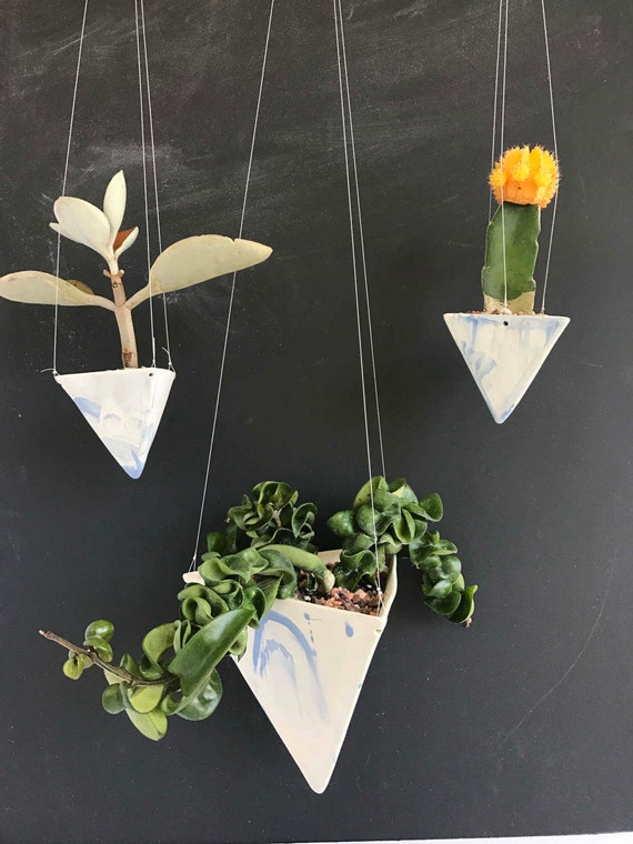 Hanging Pyramid Planter Blue Marble Modern Mid Century Home Decor MADE TO ORDER #hangingplanter