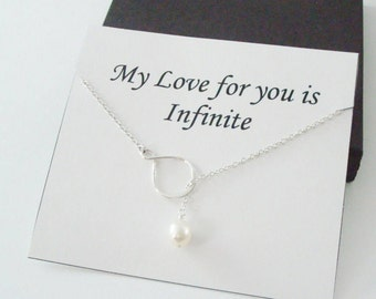 Eternity Infinity with White Pearl Silver Lariat Necklace ~~Personalized Jewelry Card for Best Friend, Sister, Bridal Party, Mom, Daughter