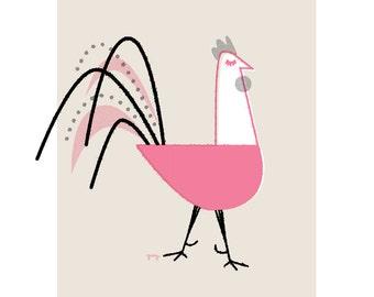 Chicken Art Print, Rooster Kitchen Decor, Retro Chicken Print, Kids Wall Art