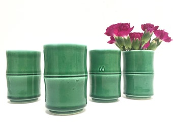 Green ceramic bamboo style sake cups, set of 4 | green bud vases | faux bamboo | small tea cups | vintage bamboo | tabletop decor | spring