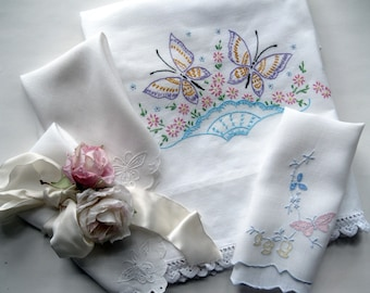 Set of Butterfly Linens, Pillowcase, Towel, 2 Napkins, Set of Four,  Cottage Charm, Shabby French, Bulk Linens, by mailordervintage on etsyy