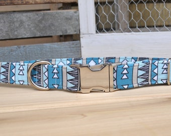 Baby Blue Tribal Dog Collar, Native Inspired, Blue, Black, White, Male, Metal Buckle