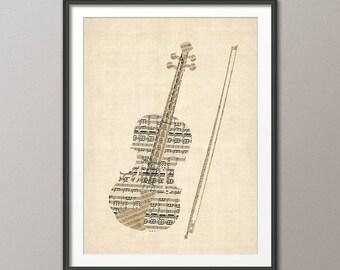Violin Old Sheet Music Collage, Violin Poster, Art Print (2832)