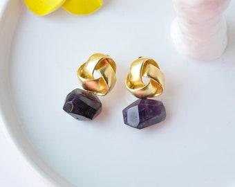 Amethyst Earrings, Statement Earrings, Gemstone Earrings, Drop Earrings