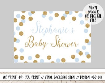 Blue Baby Shower Welcome, Boy Baby Shower Backdrop, Blue Gold Backdrop, Babyshower Backdrop Sign, Blue Gold Baby Shower Sign