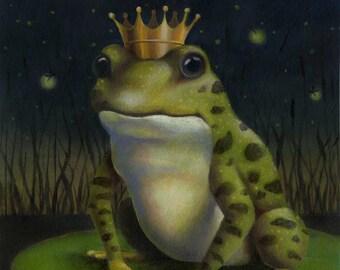 Frog Print, Frog Prince Print, Frog Portrait, Toad Art, Frog Art, Animal Portrait, Kiss the Frog, Prince Charming, Lovers Gift, Amphibian