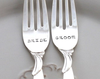 BRIDE & GROOM WEDDING Forks Cake Table Setting Decor Mr. and Mrs. Forks Hand Stamped - Flair 1956 - Ready To Ship