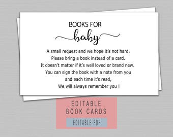Book instead of card, Bring a book baby shower insert, Baby shower book inserts, Bring a book instead of a card insert, editable pdf B11