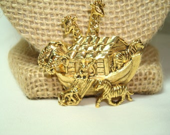 1994 Golden Noahs Ark Pin with Two By Two Zebras Giraffes Monkeys and Elephants.