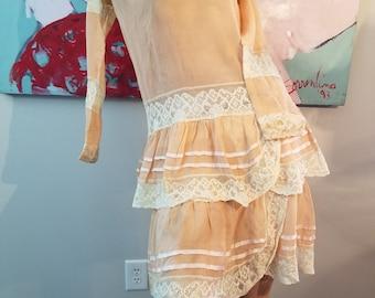 FREE  SHIPPING    1920  Silk  Crepe Lace  Dress