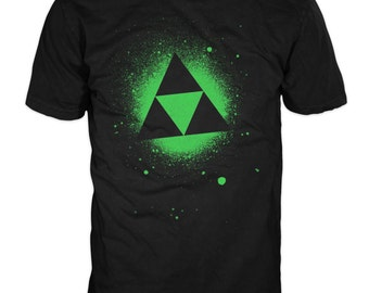Tri Force T-shirt. Inspired by the 1980's Nintendo game The Legend of Zelda, Tri Force Gildan Black Heavy Tee. 100% cotton.