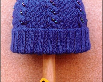 Beaded Cable Hat Knitting Pattern, pdf download, in-the-round, worsted weight