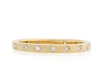 Skinny Wedding Band, Flush Diamond Wedding Ring, diamond eternity ring with 16 Canadian diamonds, made to order in 3-4 weeks