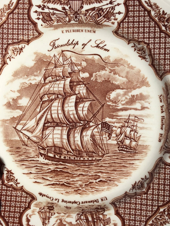 2 Piece Fair Winds Brown Transferware Dinner/Salad Plates by Alfred Meakin