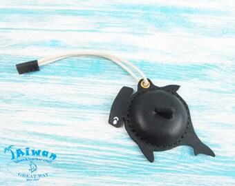 Leather craft---Hammerhead Shark cowhide leather luggage tag / handmade / luggage / suitcase / bonnethead sharks / Sphyrna zygaena