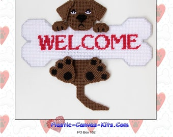 Chocolate Labrador Retriever Welcome Bone-Plastic Canvas Pattern-PDF Download