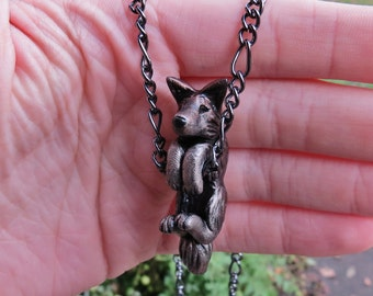 Dangling Wolf Necklace Pendant Polymer Clay Jewelry