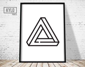 Geometry Print, Scandinavian Print, Triangle Art, Impossible Triangle, Home Decor, Scandinavian Art, Abstract Poster, Minimalist Print, Gift