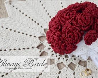 PATTERN Crochet Wedding Flower Bouquet Pattern and Tutorial, bridal accessories, bridal bouquet, bridesmaid, wedding party gift, flower girl