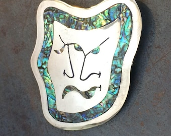 Theater Mask Brooch in Abalone and Sterling Silver