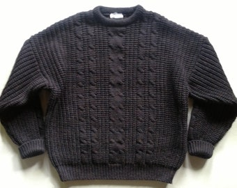 Charcoal Multi Marled Wool Hand Knit Cabled Sweater England XL