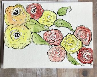 Homemade Card, Original Watercolor Flower Card