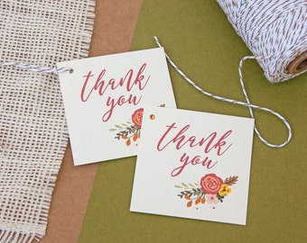 Favor Tags in Fall Floral Design - Bridal Shower Thank You Tags - Wedding Favor Tags - Fall Gift Tags - Autumn Tags