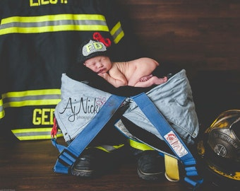 Baby Girl Fireman Firefighter Hat in Charcoal Heather, Photography Prop - MADE TO ORDER