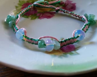 SPringtiMe gems pink and green two toned hemp bracelet with jade chips and opal beads