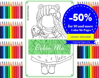 Color Me Baby, Girl Digital Stamp, Scrapbooking Doll, Coloring Art Doll, Handmade Doll Stamp, Adult Interior Decor, Kids Gift by Olga S