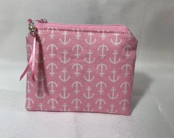 Pink & White Anchor Nautical Coin Purse, Pouch, Mini Wallet, Great Gift!