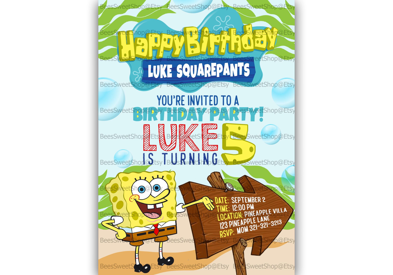 Spongebob birthday invitations printable digital file zoom solutioingenieria Gallery