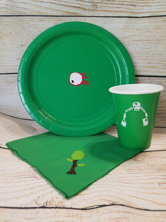 Terraria Birthday Party Paper Plates Napkins Cups Vinyl Decorated Disposable Partyware - Skull - Eyeball - Trees Birthday Party Items from BayBaysBoutique ... & Terraria Birthday Party Paper Plates Napkins Cups Vinyl Decorated ...
